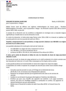 COMMUNIQUÉ DE PRESSE DU 03 JANVIER 2021