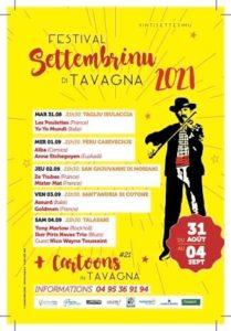 Affiche et programme Settembrinu 2021 Tavagna-Club Talasani